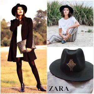🆕 Zara black 100% wool embroidered fedora hat
